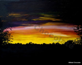 """Heaven and Earth Original Painting by Amy Brandum, 16""""x20"""",acrylic, original, nature, wall art, painting on canvas,sunset,landscape"""