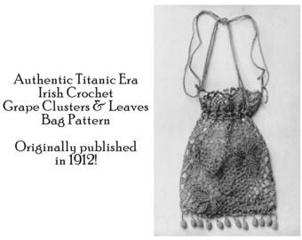 purse irish crochet pattern 1915 gibson girl edwardian wwi diy etsy