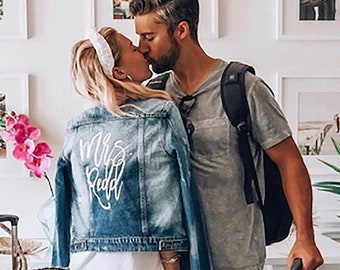 Engagement Gifts, Embroidered Jean Jacket, Bride Jean Jacket, Distressed Denim Jean Jacket, Embroidered Denim Jacket, Custom Denim Jacket