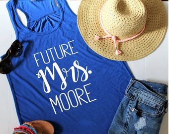 Custom Future Mrs. Racerback Tank Top, Customize Your Colors, XS-2XL, Bride Tank, Engagement Gift, Future Mrs, Bridal Gift, Bridal Party