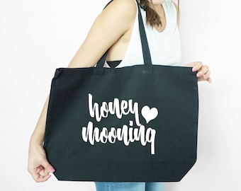 Honeymooning Canvas Tote, Honeymoon Tote, Just Married, Bachelorette Party Gift, Gift Bag, Tote Bag, Canvas, Honeymoon Gift