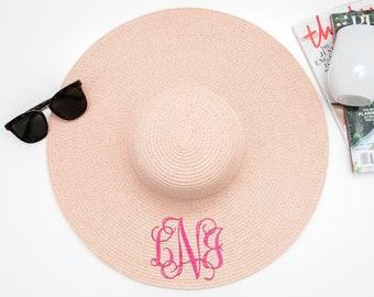 dd864b3b Monogrammed Floppy Sun Hat, Floppy Sun Hat Personalized, Floppy Sun Hat,  Beach Hat, Engagement Gift, Bridesmaid Gift, Mothers Day Gift