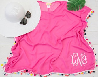 7f4621fa98 Monogrammed bathing suit cover up, Bathing Suit Cover up, Bride Swimsuit  Cover Up, Bride Beach Cover Up, Pom Pom Swim Cover up