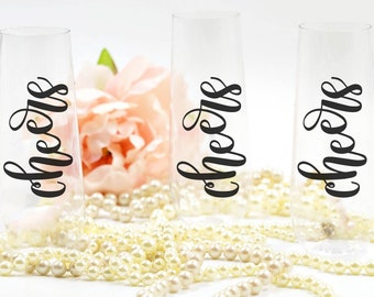 Stemless Champagne Glass PLASTIC, Bachelorette Party Cups, Bridesmaid Champagne Flutes, Bachelorette Party Favor, Bridesmaid Gift