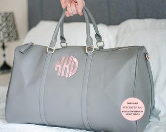 Monogram Weekender Bag ~ Personalized Weekender Bag ~ Monogrammed Luggage ~ Hot Pink Personalized Overnight Bag ~ Aztec Patterned Weekender