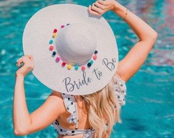 88bcc0a0 Floppy Sun Hat Personalized, Bride Hat, Honeymoon Hat, Floppy Sun Hat,  Custom Floppy Sun Hat, Pom Pom Floppy Sun Hat, Vacation Hat