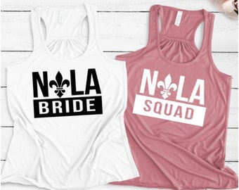 Bachelorette Party Shirts, New Orleans Bachelorette Party Shirts, Nola Bride, Nola Squad, Bachelorette Shirts, NOLA Bachelorette Shirts