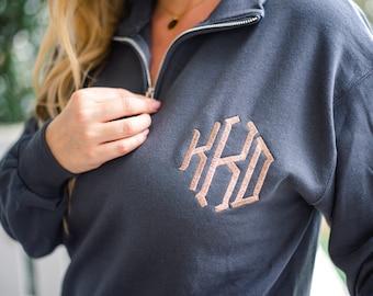 Quarter Zip Monogram Sweatshirt, Monogram Pullover, Monogram Fleece, Personalized Gifts, Monogram Sweatshirt, Monogram Hoodie, Gifts for her
