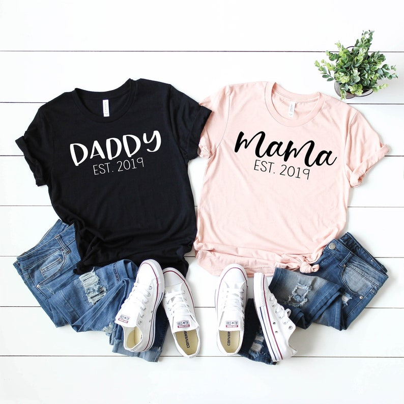 218259223afed Mama and Daddy Shirt Set, Mom and Dad Shirts, Mom Shirt, Dad Shirt, Family  T Shirts, Pregnancy Reveal Shirt, Pregnancy Announcement Shirt