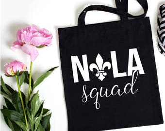 Nola Squad Canvas Tote, Bachelorette Party Tote, Bachelorette Party Favor, Bachelorette Party Gift, Gift Bag, Tote Bag, New Orleans Tote
