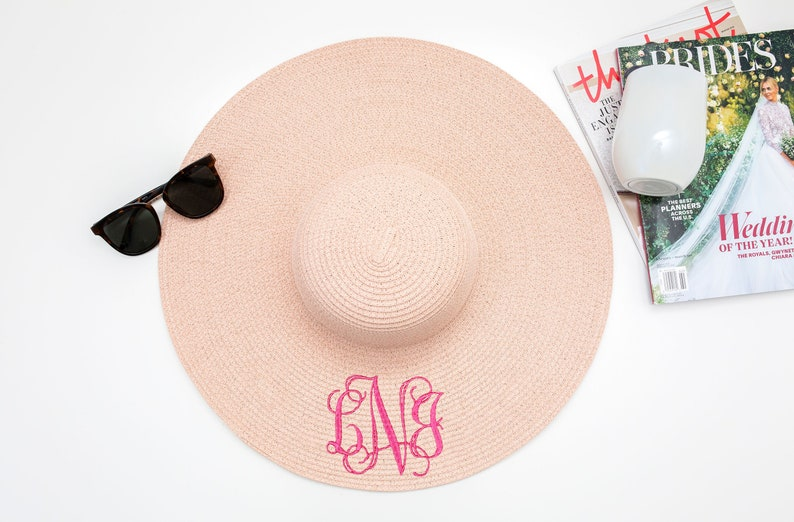 Monogrammed Floppy Sun Hat, Floppy Sun Hat Personalized, Floppy Sun Hat,  Beach Hat, Engagement Gift, Bridesmaid Gift, Mothers Day Gift