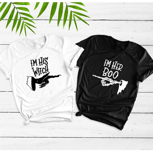 27d3fcffd154d Halloween Shirt Set I'm His Witch I'm Her Boo Bad | Etsy