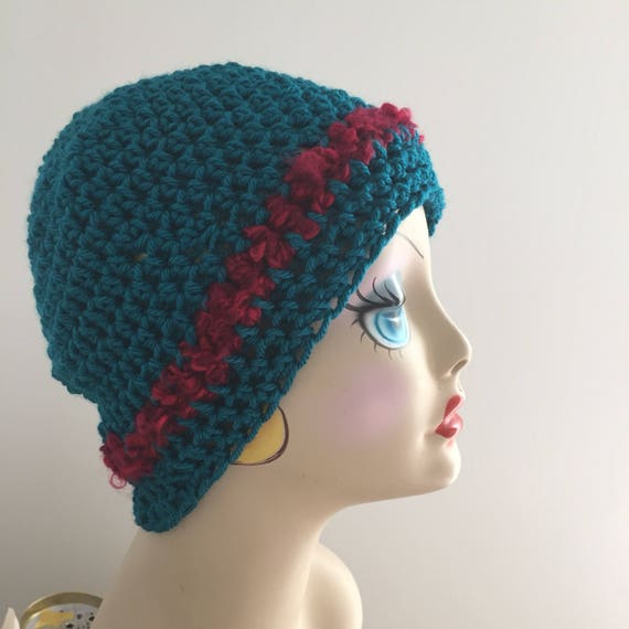 Crochet Hat Teal Hat Turquoise Hat Ladies Teens Cap Fall  aaa7a2835e5