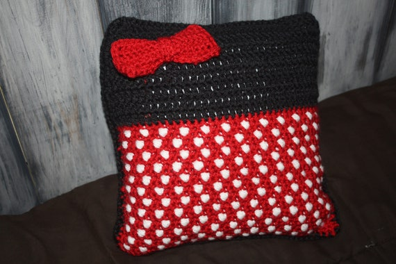 Crochet PATTERN Disney Inspired Throw Pillow Minnie Mouse Etsy Best Minnie Mouse Decorative Pillow