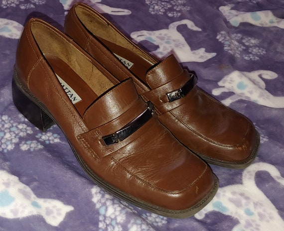 Manhattan Collection Brown Chunky Heel Loafers