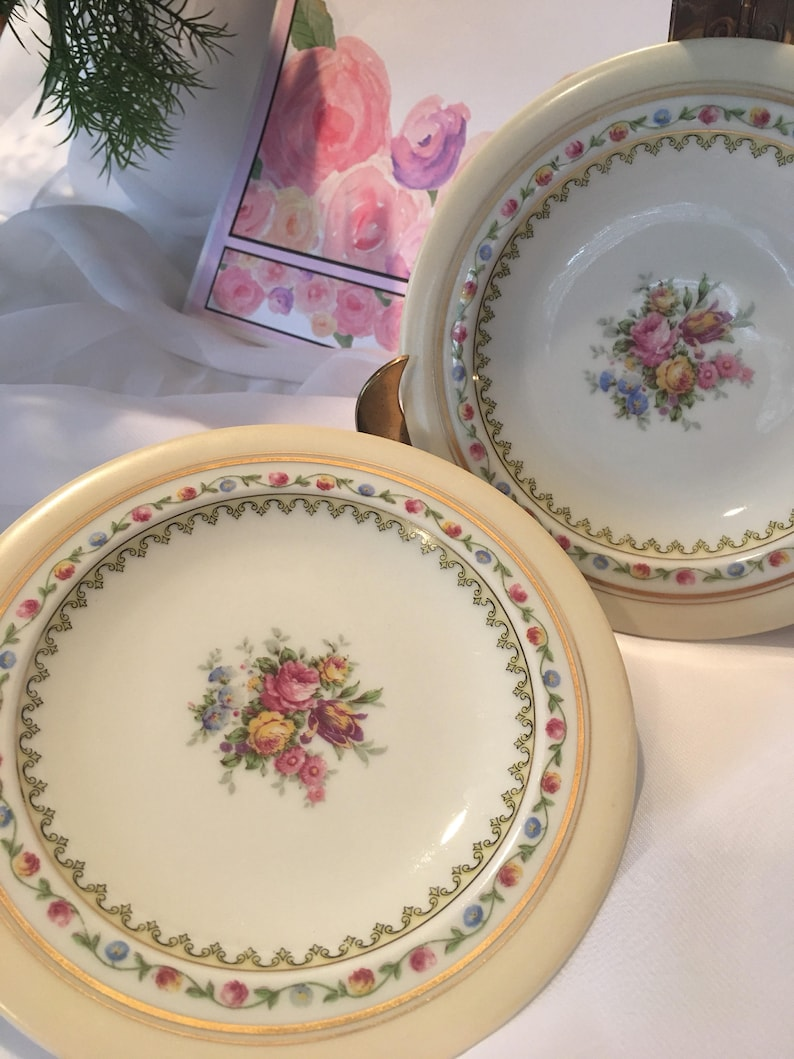 Limoges Dessert Plates China Plates with Roses Limoges Small Plates Limoges Plates Limoges China Plates Set of 2