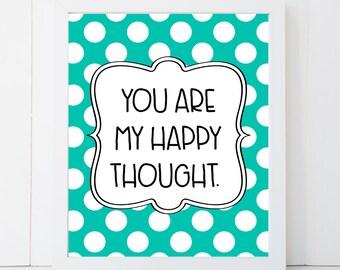 Nursery Wall Art, You Are My Happy Thought, Polka Dot Nursery Decor, Fun Nursery Decor, Nursery Wall Art, Nursery Art