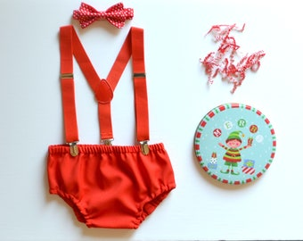 Red Suspenders & Red Bow Tie with Red Diaper Cover -- Red Cake Smash Outfit
