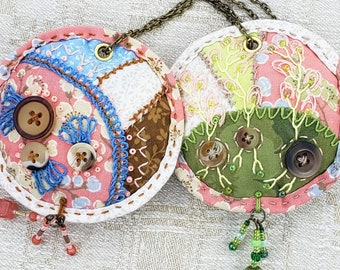 Crazy Quilt Patchwork Blessing Ornaments II - Set of 2