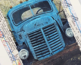 Rusty Vintage Trucks Hand Colored Photos Greeting Card Set of 4