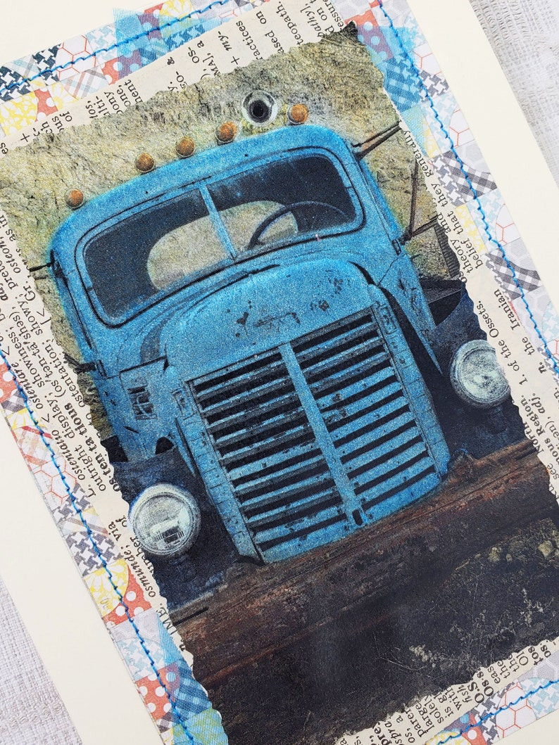 Rusty Vintage Trucks Hand Colored Photos Greeting Card Set of image 1