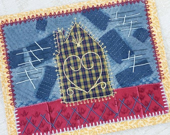 Spiritual Safe House in the Storm Folk Art Textile Picture