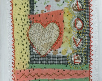 "Folk Fabric Prayer Flag Artsy Gift Textile Collage- ""Love"""