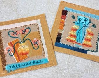 Vibrant Tropical Colors Still Life Folk Art Textile Picture Pair