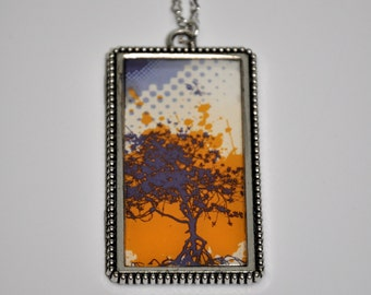 Colorful Tree Necklace with purple and orange