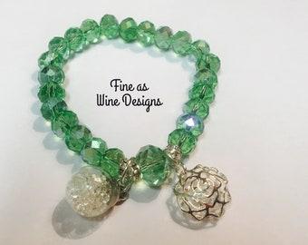 St. Patrick's Day beaded bracelet! Green crystals.