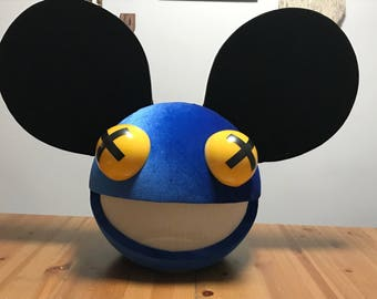 deadmau5 head color blue with black lights and wireless remote control halloween costume