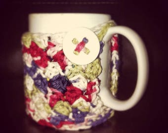 Crochet Coffee Mug Cozy with Button