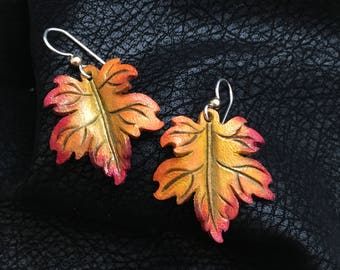 Maple Leaf Leather Earrings - Sterling Silver Handmade Orange, Yellow, Red