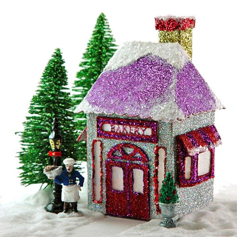 photograph relating to Printable Christmas Village Template known as Miniature Xmas Village Bakery Printable PDF Template