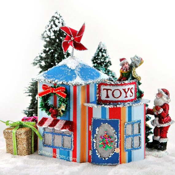 Miniature Christmas Village Toy Store Pdf Pattern Etsy