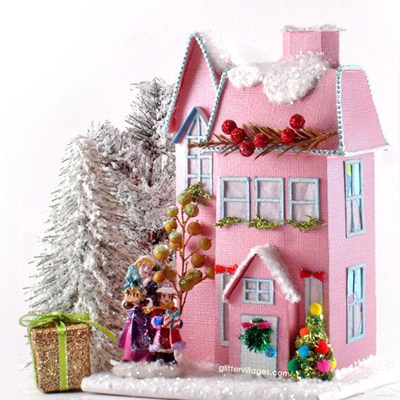 Miniature Christmas Village.Charming Miniature Christmas Village House Pattern Instructions Diy