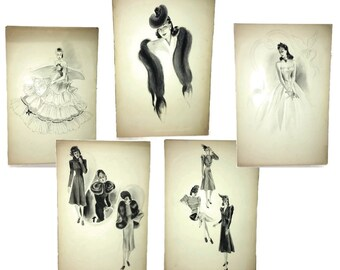 5e26076d92df Original Artwork Collection of Five Large Vintage Pen and Ink Fashion  Sketches from the 1930s and 1940s