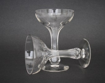 Pair of Hollow Stem Crystal Champagne Coupes with Panel Cut Stems