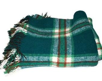 Vintage Wool Reversible Green and Brown Plaid Camp Blanket Statium Blanket Picnic Blanket with Fringe