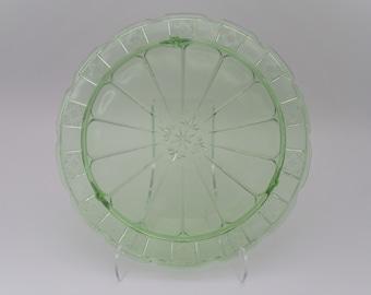 Uranium Green Depression Glass Doric Three-footed Cake Plate