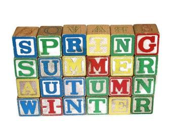 Vintage Seasonal Wooden Alphabet Blocks by Halsam -- Spring Summer Autumn Winter