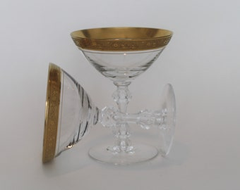 Pair of Tiffin Minton Gold Encrusted Rim, Hand Blown, Cut Stem Champagne Coupes / Saucers (Stem 17601)