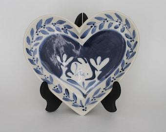 Signed 1985 Dedham Rabbit / Potting Shed / Nash Pottery  Crackleware Rabbit Heart-Shaped Trinket Tray