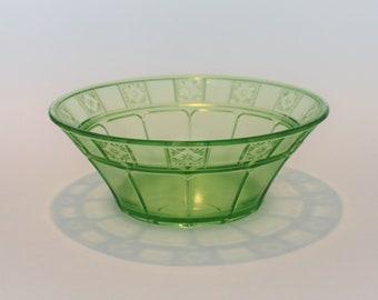 Depression Glass Doric Pattern Large Master Fruit Bowl or Dessert Bowl by Jeannette Glass in Uranium Green