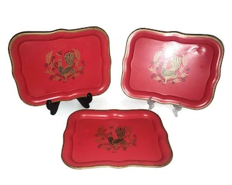 Set of Three Metal Mid-Century Red Serving Trays Signed Maxey with Peacock Motif   Rooster Motif   Phoenix Motif