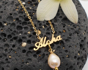Beach Jewelry, Aloha and Pink Pearl Necklace - Beach Jewelry, Beach Wedding, Hawaiian Jewelry, Shell Necklace, Pink, Pearl Necklace, Hawaii