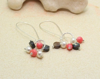Abalone Pearl Coral Dangle Earrings / Beachy Boho Earrings / Long Earrings / Tropical Earrings / Beach Wedding