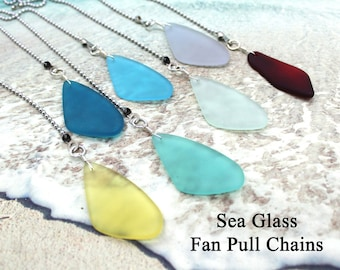 Sea Glass Fan Pull - 7 Colors, Fan Chain, Fan Pull, Ceiling Fan Pull, Beach Decor, Beach Cottage, Beach Glass, Decorative Fan Chain