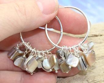 Sea Shell Hoop Earrings, Mother of Pearl Earrings, Earrings, Beach Jewelry, Sea Shell Earrings, Beach Wedding, Silver Hoop Earrings