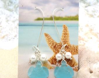 SEA GLASS Turtle Earrings / Beachy Boho Earrings / Sea Glass Earrings / Tropical Earrings / Beach Wedding / Turtle Earrings